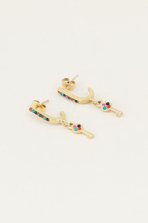 Drop earrings with key & mulit-coloured rhinestones | Rhinestone earrings My Jewellery