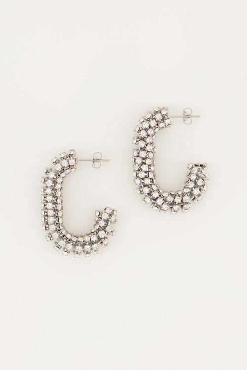 Rechthoekige oorhangers zilveren steentjes