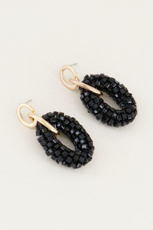Zwarte oorhangers ringen en kristal   Kristallen oorbellen My Jewellery