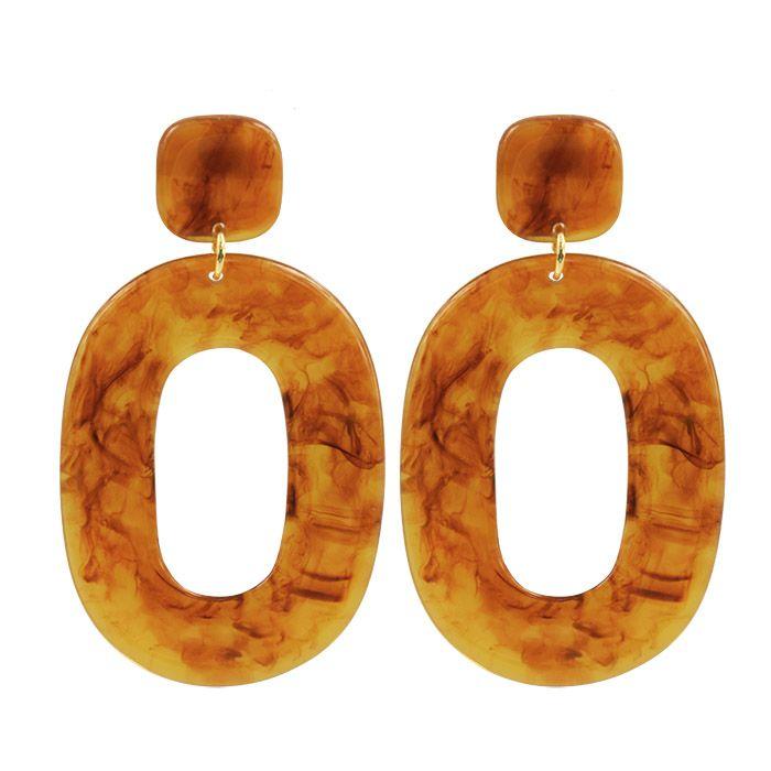 Bruine statement oorbellen ovaal, oorhangers My Jewellery