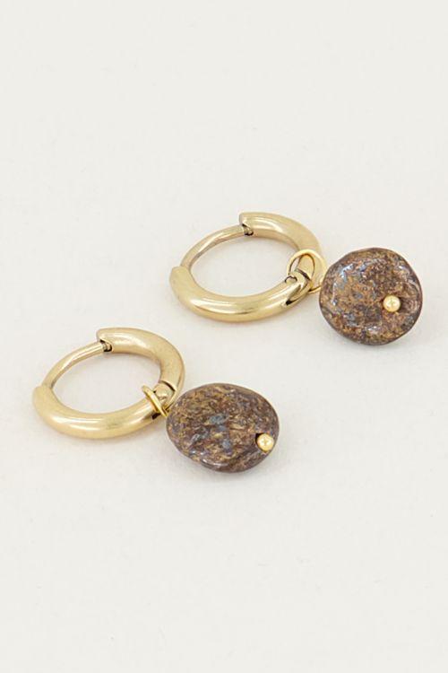 Oorringen koper steen, minimalistische oorbellen