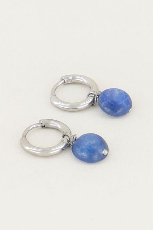 Oorringen aventurien blauw steen, oorbellen met steen