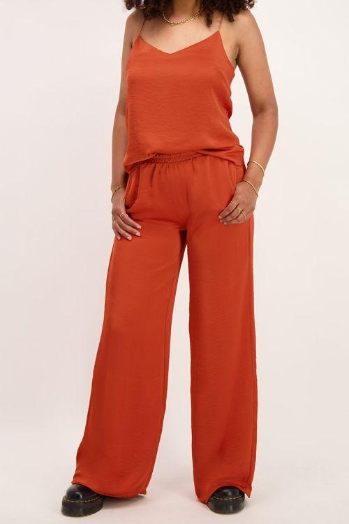 Oranje broek satijnen look| Broeken | My Jewellery