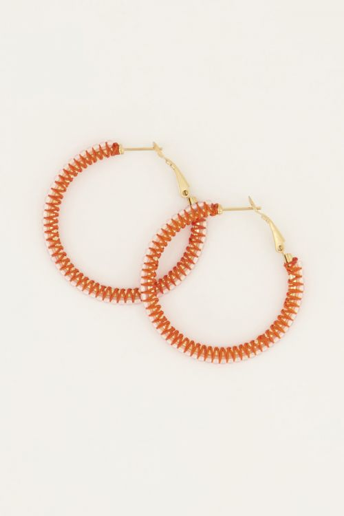 Oranje oorbellen kraal rond