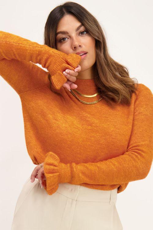 Oranje trui met ruffle mouw   Truien   My Jewellery