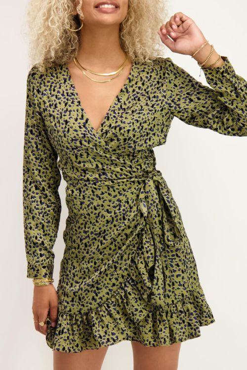 Groene overslag jurk met flock print