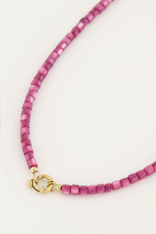 Paarse kralen ketting met slotje   My Jewellery