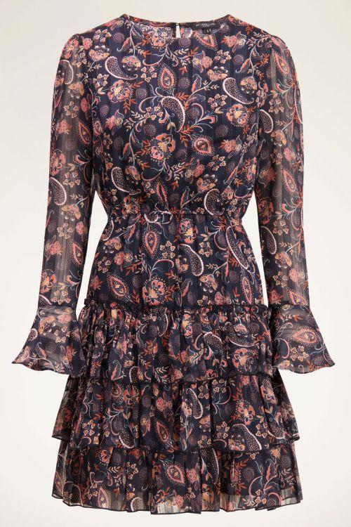 Zwarte jurk met paisley print & bloemen  | My Jewellery