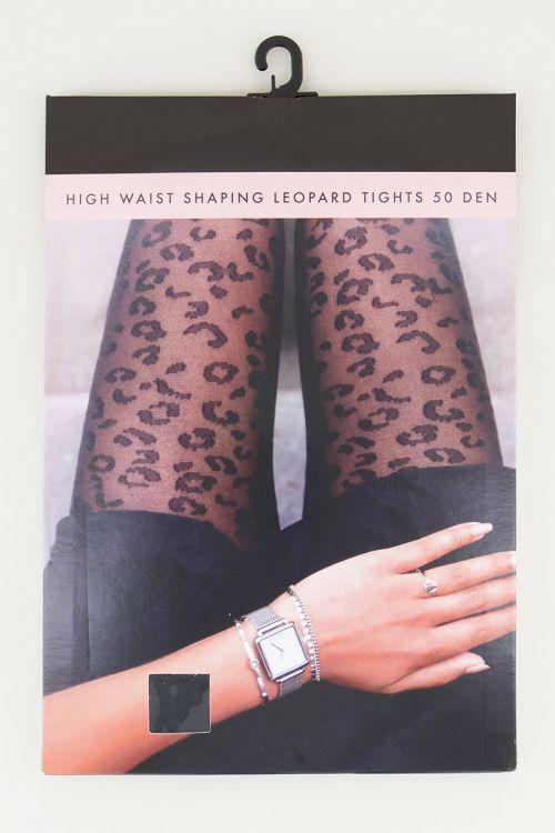 Zwarte panty luipaardprint, panty met detail