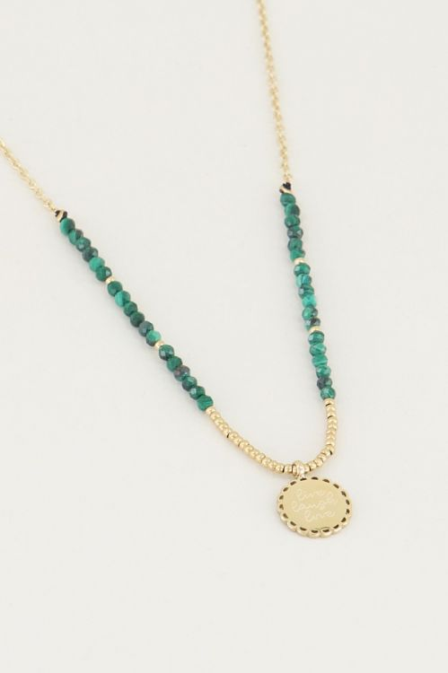 Necklace with charm & malachite, necklace with charm