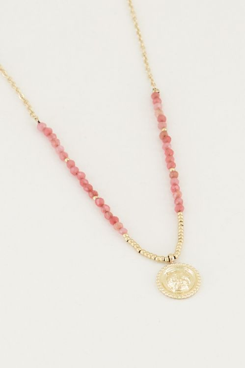 Necklace charm & Red Jade, necklace with gemstone