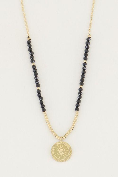 Ketting bedel & Black Onyx, ketting met edelsteen