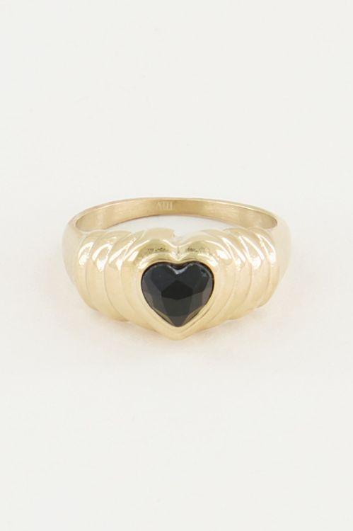 Ring black onyx hartje, zwarte onyx ring