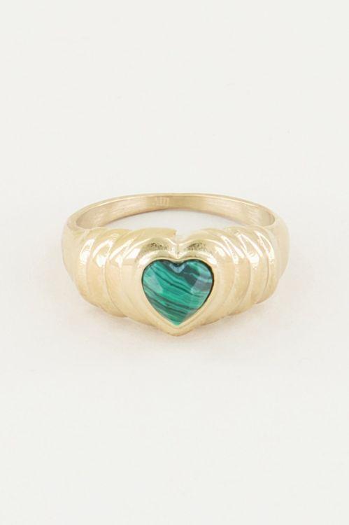 Ring malachite hartje, malachiet edelsteen ring