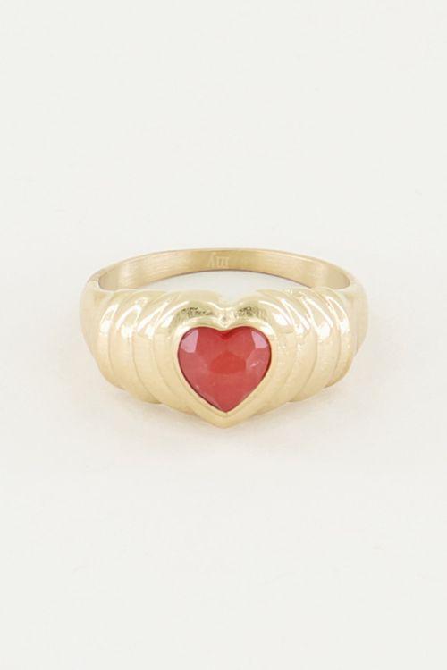 Ring red jade hartje, ring met jade My Jewellery