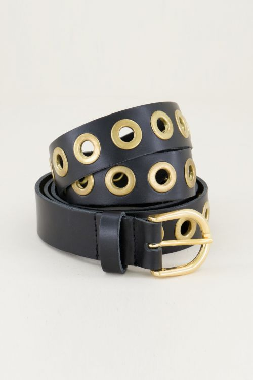 Zwarte leren riem met goudkleurige ringen | My Jewellery