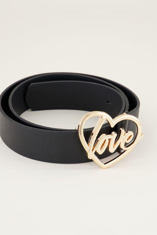 Riem love gesp   Leren riem   Zwarte riem My jewellery