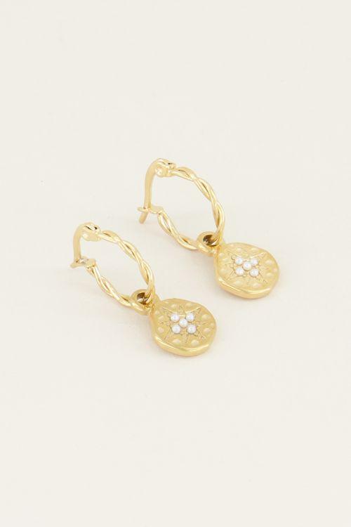 Parel oorbellen met ster | Oorbellen met parel bij My Jewellery
