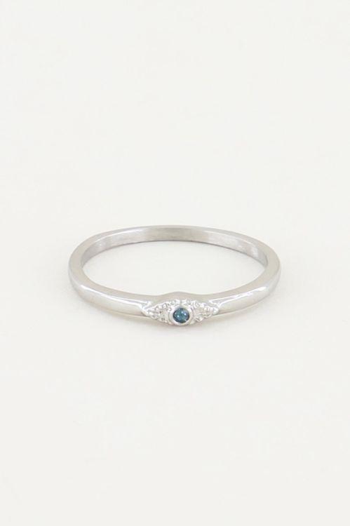 Ring vintage blauw steentje, ringen met steen