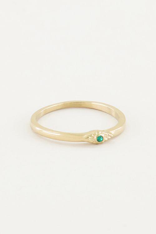 Ring met groen steentje, minimalistische ring