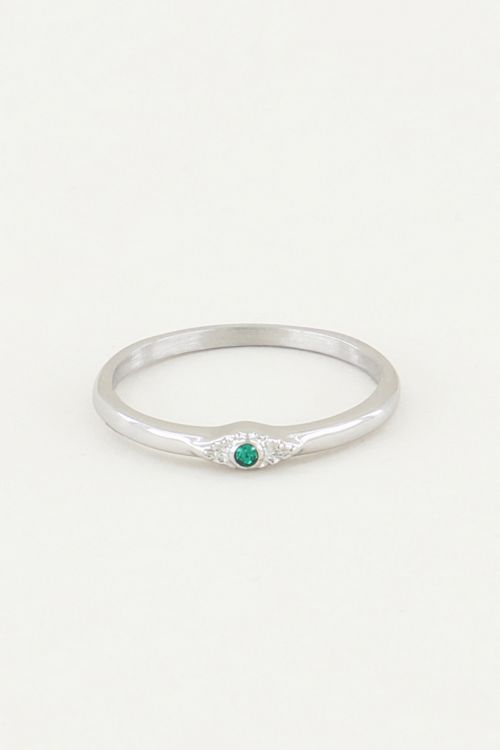 Ring with green stone, minimalistic ring
