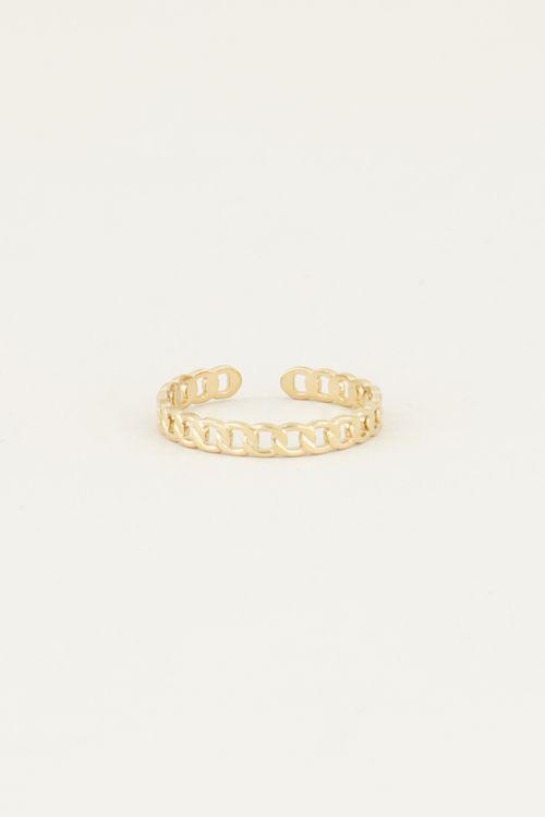 Ring platte schakels | Ring met schakels My jewellery