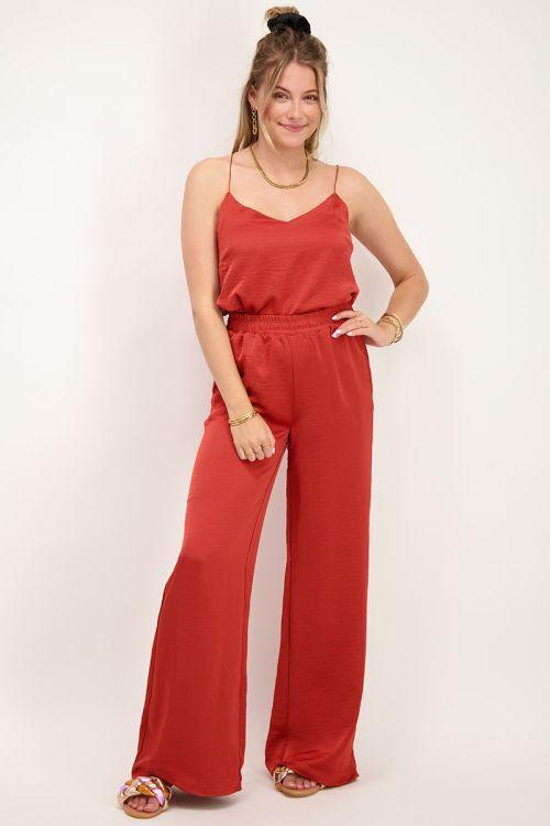 Rode broek satijnen look| Broeken | My Jewellery