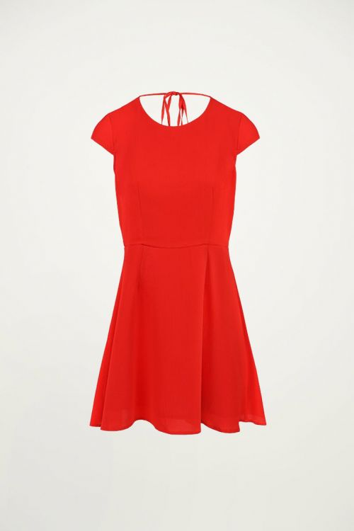 Rode jurk met open rug, Zomerjurkje