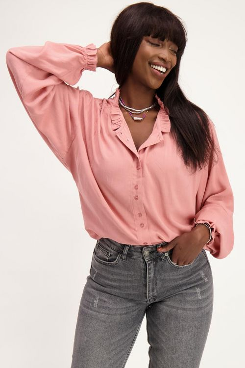 Roze blouse met wijdvallende mouwen   My Jewellery