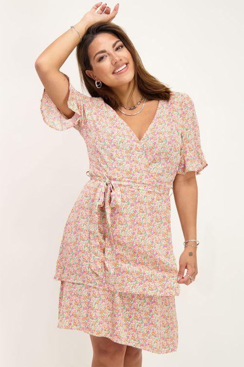 Roze jurk met laagjes en bloemenprint | My Jewellery