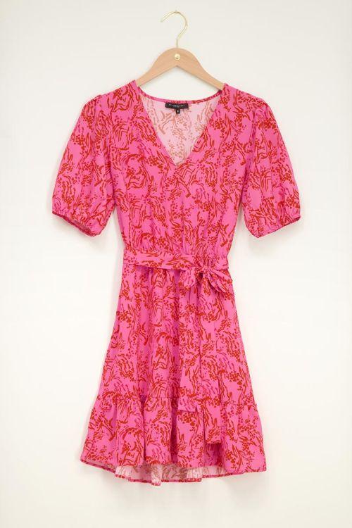 Roze jurk met pofmouw fuchsia rood