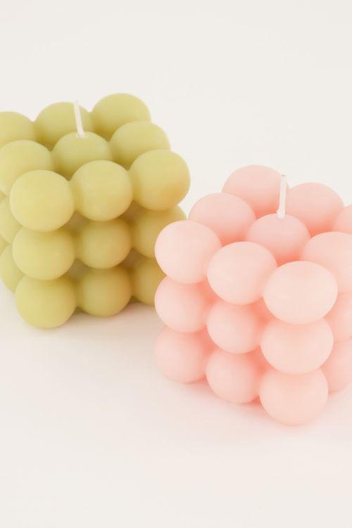Roze kaarsen set met bolletjes