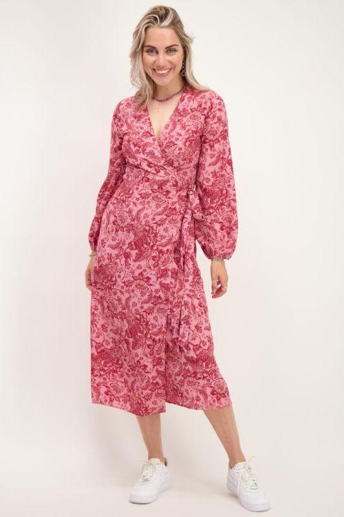 Roze midi jurk met rode bloemen
