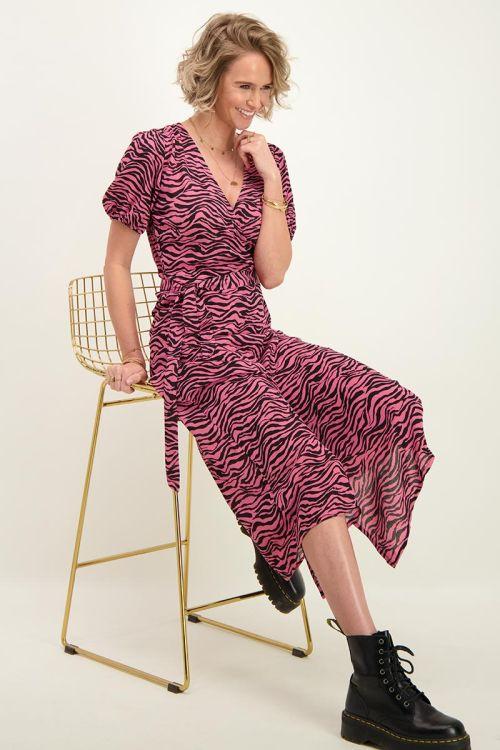 Roze midi jurk met zebraprint