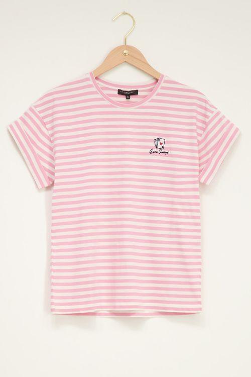 Roze t-shirt met strepen en kaartje