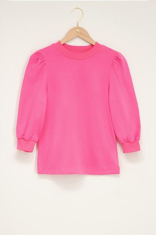 Roze sweater met korte pofmouw
