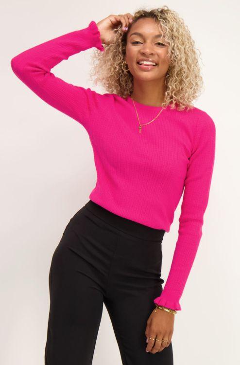 Roze trui met rib structuur
