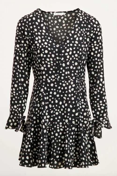 Black leopard dress with buttons, dalmatian print dress