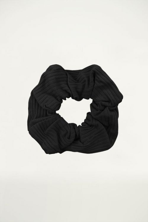 Zwarte scrunchie ribstof, haarelastiek My Jewellery