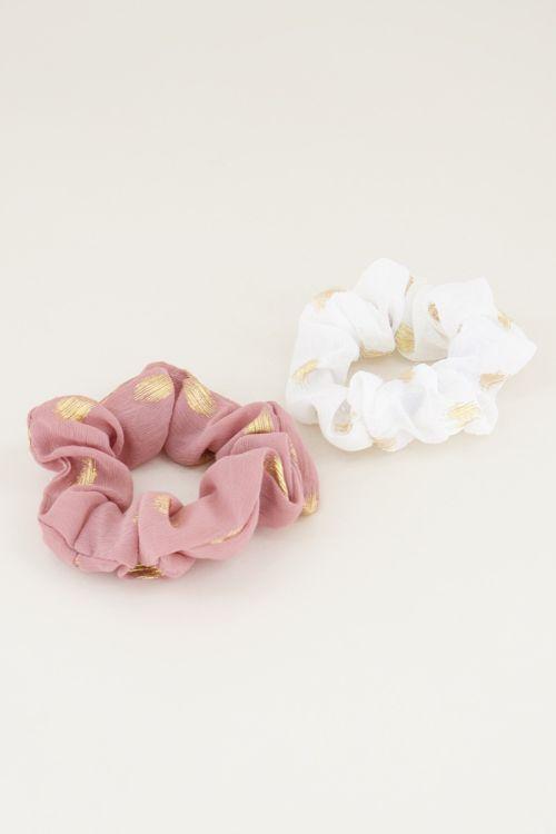 Scrunchie set roze/wit, scrunchie set My Jewellery