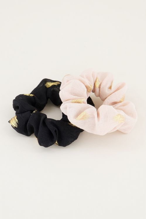 Scrunchie set zwart/beige, scrunchies My Jewellery