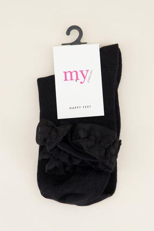 Zwarte sokken met ruffles | My Jewellery