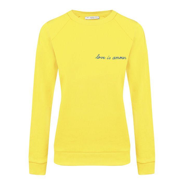 MY Jewellery sweater geel met tekst