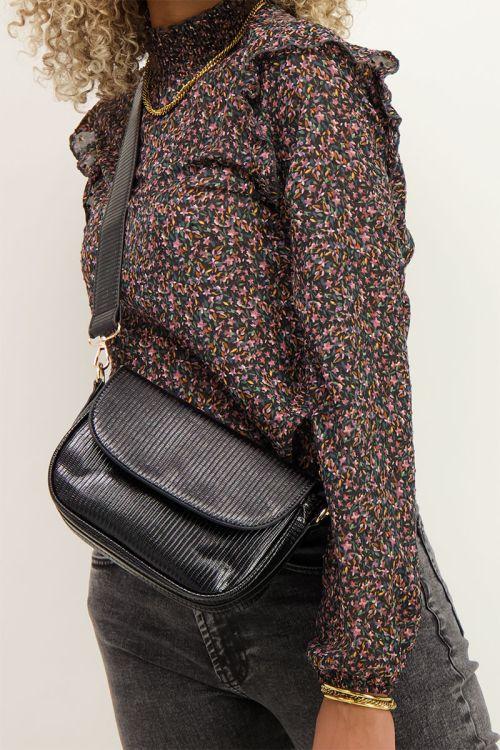 Zwarte tas met patroon | Schoudertas | My Jewellery