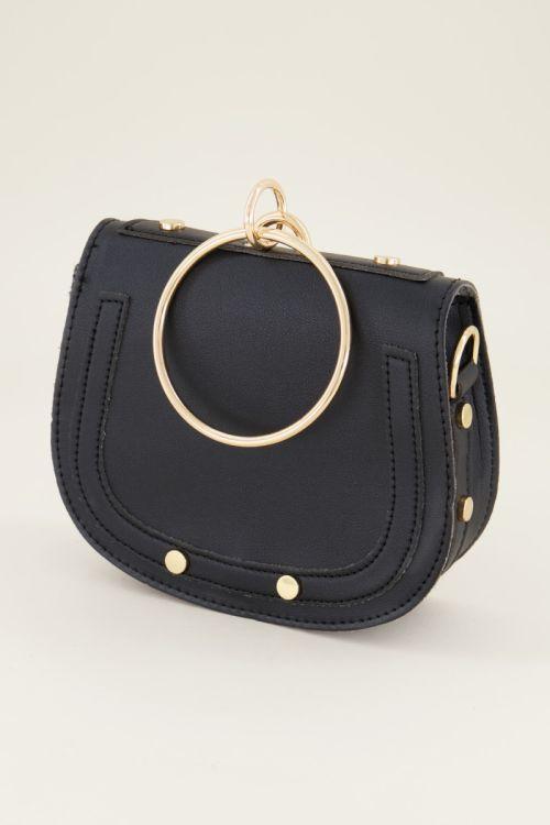 Zwarte tas met ring, heuptasje My Jewellery