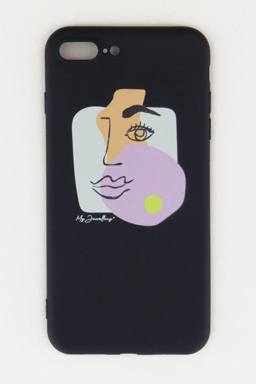 Zwart telefoonhoes Face, telefoonhoesje siliconen