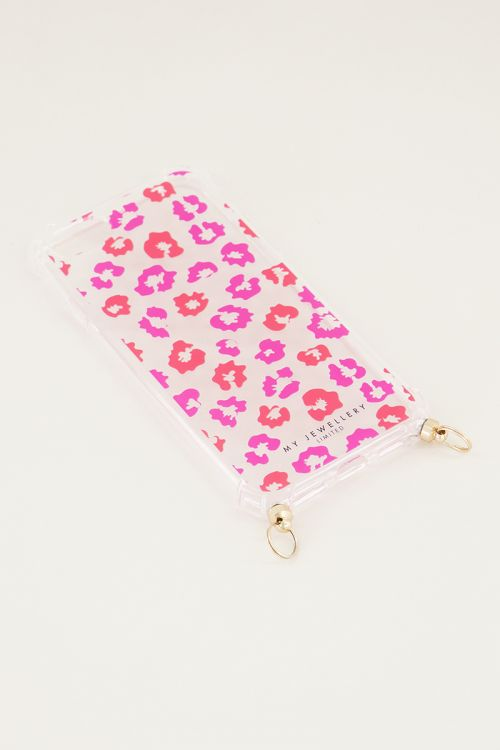 Red and pink print phone case, phone case with cord My Jewellery
