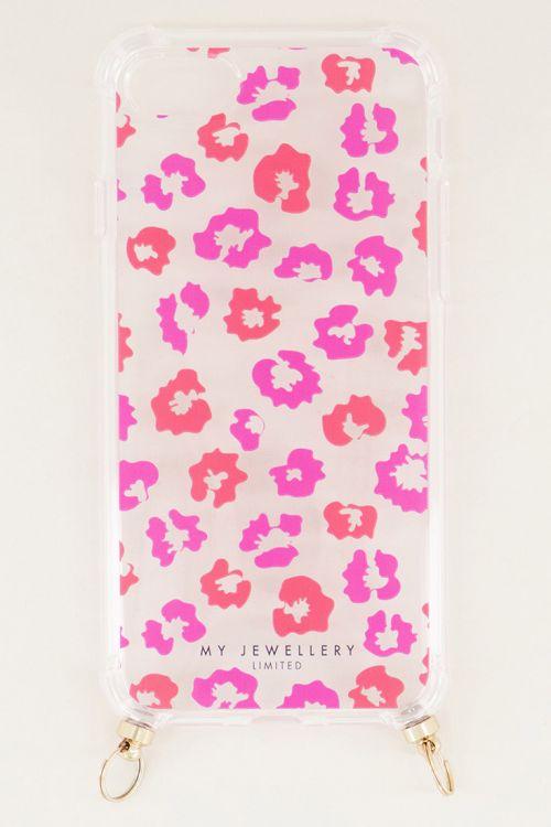 Telefoonhoesje rood roze print, telefoonhoesje met koord My Jewellery