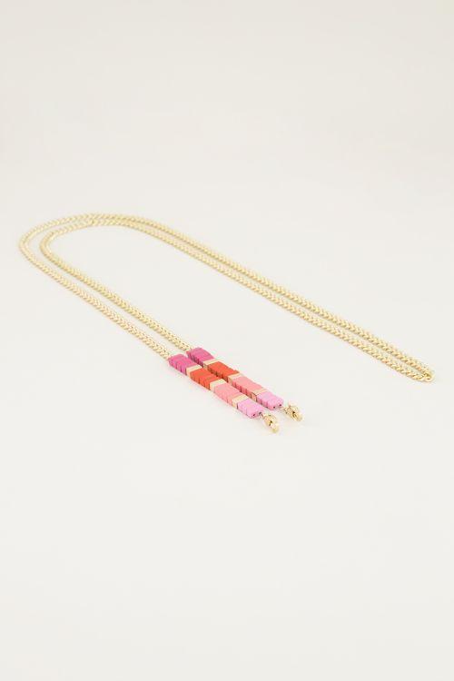 telefoonkoord met roze kralen, telefoon ketting My Jewellery