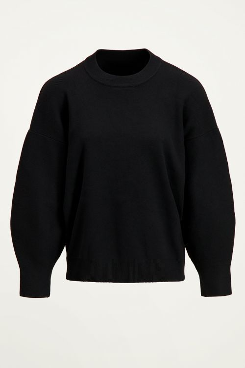 Zwarte trui met ballonmouwen, zwarte wintertrui My Jewellery